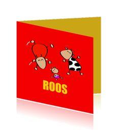 Geboortekaart, stier, koe, rood