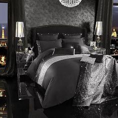 Kylie Minogue Mezzano Black Sequin Luxury Satin Cotton Duvet Quilt Cover Bedding