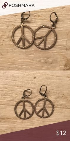 """NWOT Lucky Brand peace sign earrings NWOT Lucky Brand silver earrings with gemstone details. Perfect condition, never worn. Clasp closure. Approx 2"""" drop. Lucky Brand Jewelry Earrings"""