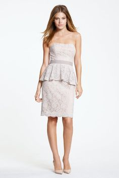Watters Maids Dress Aramis  As seen in #unveiled2014 for #mirabridalcouture  Bella #Lace/Lining/Grosgrain Ribbon Contoured neckline Lace peplum over a slim above the knee-length skirt. Grosgrain ribbon belt at waist