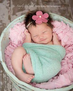 newborn pictures, headbands and aqua