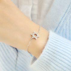925 quẻ bạc Micro Pave zircon tinh thể vòng đeo tay nữ Hàn Quốc phiên bản Hàn Quốc ngọt ngào bạc trang sức mỹ D5506