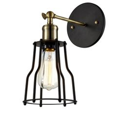 Wire Cage Wall Mount Light Fixture, Matte Black/Antique Brass | Ohr Lighting