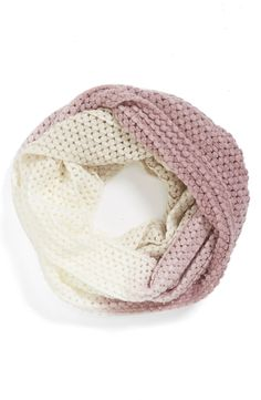 Cute ivory and pink ombré infinity scarf.