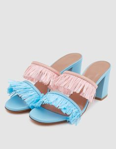 Heeled sandal from Maryam Nassir Zadeh. Two leather straps at vamp embellished with a festive raffia fringe. Lightly padded footbed with embossed logo. Lifestyle Examples, Colorful Sneakers, Cute Shoes, Women's Shoes, Dream Shoes, Party Shoes, Shoe Collection, Block Heels, Confetti