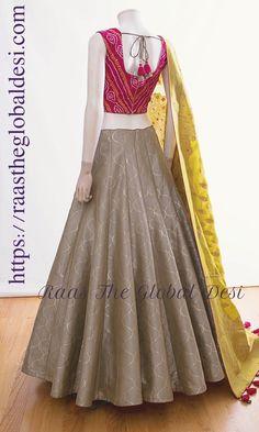 CHANIYA CHOLI 2018 Silk Chania with designer brocade blouse and contrast dupatta Indian Gowns Dresses, Indian Outfits, Emo Outfits, Classy Outfits, Designer Party Wear Dresses, Party Dresses, Chanya Choli, Party Wear Lehenga, Bridal Lehenga