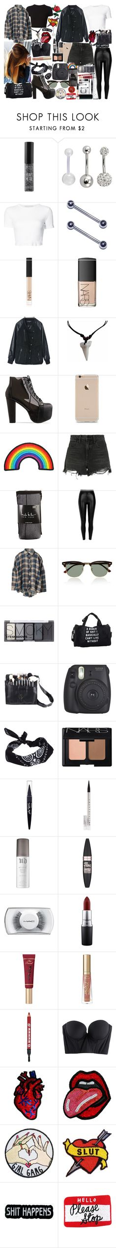 """Untitled #329"" by jade-bellex ❤ liked on Polyvore featuring Urban Decay, Rosetta Getty, NARS Cosmetics, Jeffrey Campbell, Alexander Wang, Nicole Miller, Getting Back To Square One, Black, UNIF and Ray-Ban"
