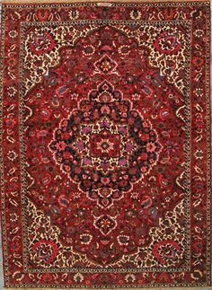 "Buy Bakhtiari Persian Rug 6' 11"" x 9' 9"", Authentic Bakhtiari Handmade Rug"