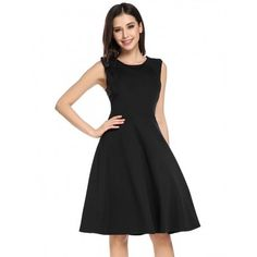 Women O-Neck Sleeveless Solid Casual Party Swing Skater Dress