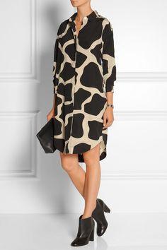 DKNY | Printed stretch-silk shirt dress | NET-A-PORTER.COM