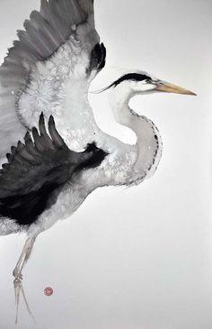 Gray Heron, 150x100 cm