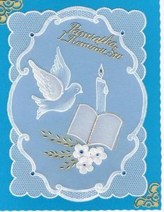 First Communion Cards, Première Communion, Jesus Book, Parchment Design, Parchment Cards, Bobbin Lace Patterns, Donia, Paper Cards, Homemade Cards