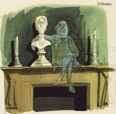 Concept Art For The Mantlepiece Ghost For Disney's Haunted Mansion