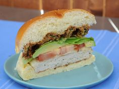 Grilled Chicken Burgers with Pasilla Aioli Recipe : Marcela Valladolid : Food Network - FoodNetwork.com