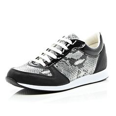 BLACK SNAKE PRINT LACE UP SNEAKERS$64.00