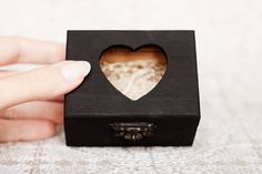"Small, black matte wedding box ""Hollywood Regency Chic"" - Wooden box, black, ring bearer box, ecofriendly, jewelry box"