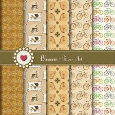 Bicycles Digital Paper Brown Digital Paper Pack by blossompaperart, $2.50