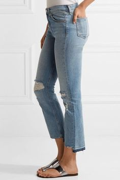 rag & bone - Distressed Mid-rise Straight-leg Jeans - Blue