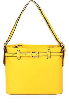 Belt Buckle Solid Color Shoulder Bag #vegan #leather #handbag $27 #fashion #accessories #bag #purse #yellow #style #zaful