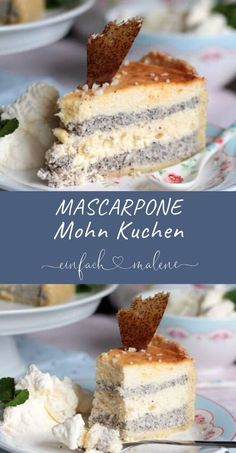 Cheesecake with a difference: creamy mascarpone poppy seed cake- Käsekuchen mal anders: Cremige Mascarpone Mohn Torte Cheesecake with a difference. The mascarpone poppy seed cake … - Food Cakes, Cake Mascarpone, Mascarpone Recipes, Cookie Recipes, Dessert Recipes, Easter Recipes, Easter Snacks, Recipes Dinner, Easter Food