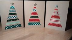 Homemade Christmas cards - so much ribbon!