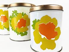 Vintage Decoware Tin Canister Kitchen Canister Set Yellow Orange