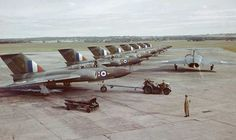 """Javelins of 46 sqn at RAF Odiham in Photo: Ian Proctor. Front bird in line: Javelin Delivered to the RAF. 46 Squadron as """"O"""". Squadron as """"H"""". Withdrawn from use. Sold for scrap. Air Force Aircraft, Ww2 Aircraft, Military Jets, Military Aircraft, V Force, The Spitfires, Post War Era, Battle Of Britain, Jet Plane"""
