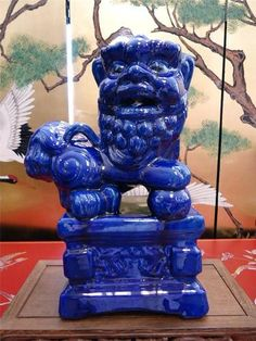 A Large Vintage Chinese Blue Foo Dog Fu Dog Porcelain Statue | eBay
