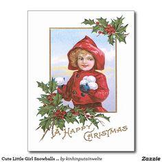 Cute Little Girl Snowballs Holly Postcard