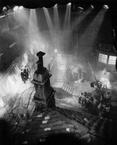 Rooftop view of the filming of Dr. Jekyll & Mr. Hyde (1931, dir. Rouben Mamoulian) & art director Hans Dreier's studio recreation of the gas-lit streets of Victorian London.