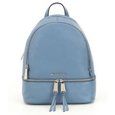 MICHAEL Michael Kors Rhea Small Zip Backpack (€250) ❤ liked on Polyvore featuring bags, backpacks, daypack bag, zipper bag, blue backpacks, rucksack bags and zipper backpack