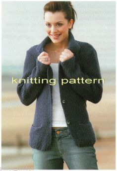 KNITTING PATTERN ARAN MOSS STITCH JACKET / CARDIGAN W COLLAR #174 FREEPOST | eBay