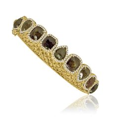 SUTRA - rough diamond cuff - in brown and yellow gold