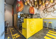 Street food for bicycle lovers in a cozy and nice bar in Barcellona downtown