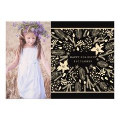 CUSTOMIZABLE WINTER FOLIAGE WREATH | STYLISH HOLIDAY CARD by the Antique Chandelier. Pin to your #holiday #cheer #christmas inspiration board! Customize and purchase at http://www.zazzle.com/winter_foliage_wreath_stylish_holiday_card-161919828933642233?rf=238589399507967362