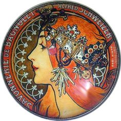 Art Nouveau Woman Button - Crystal Dome LgSz M39 Lovely