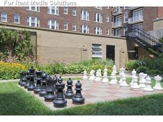 Life size outdoor chess set. Checkmate!