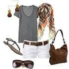 Summer outfit~ grey t-shirt and white shorts Outfits Teenager Mädchen, Cute Teen Outfits, Teenage Girl Outfits, Cute Summer Outfits, Summer Wear, Outfits For Teens, Spring Outfits, Summer Clothes, Summer Days