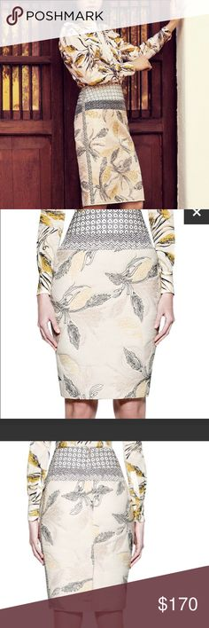 """Tory Burch Ninian pencil skirt Lavish embroidery decorates a fitted, high-rise skirt with mixed motifs. Approx. length: 24 1/2"""". Measurements taken from size 8 and may vary slightly by size. Back zip closure. Back vent. Lined. Cotton/linen/nylon; dry clean. Tory Burch Skirts Midi"""