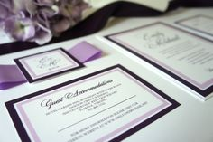 Purple Wedding Invitation, Purple Wedding Invitations, Plum, Belly Band, Calligraphy, Elegant, Purple Wedding Invites - DEPOSIT