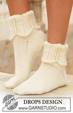 "Ravelry: 112-6 socks in ""Merino Extra Fine"" with pattern on leg pattern by DROPS design"