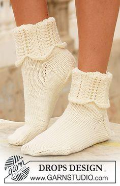 "Ravelry: 112-6 socks in ""Merino Extra Fine"" with pattern on leg pattern by DROPS design"
