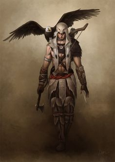 This is a lot at once:  ranger with bow  - rogue with dagger -  barbarian with axe All in a native american style?  Also an eagle familiar, so maybe druid too? -  Captainberunov on Deviantart  EDIT: I realise this might be a character from Assassins Creed? Should maybe move it to Gaming?
