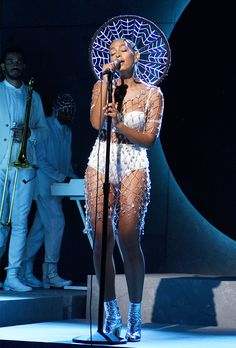 On Solange Knowles: Erickson Beamon Custom Crystal Dress; Head to the comments to share your thoughts on Solange Knowles's striking stage look! Black Girl Magic, Black Girls, Black Women, Solange Knowles, Crystal Dress, Afro Punk, Ootd, Facon, Lingerie Set