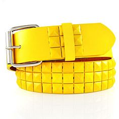@Overstock.com - JK Belts Unisex 3-row Yellow Studded Yellow Belt - Add a touch of summer to your casual wardrobe with this fun and trendy yellow belt from JK Belts. Available in a variety of sizes, this unique accessory features rows of yellow-metal studs set on faux-leather and is sure to be a conversation starter.  http://www.overstock.com/Clothing-Shoes/JK-Belts-Unisex-3-row-Yellow-Studded-Yellow-Belt/3539943/product.html?CID=214117 $13.39