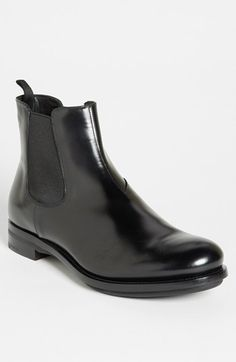 Prada Chelsea Boot available at Leather Chelsea Boots, Black Leather Ankle Boots, Leather Men, Leather Shoes, Mens Boots Fashion, Men's Fashion, Look Formal, Boots For Sale, Men S Shoes