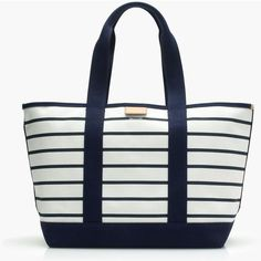 J.Crew Surfside Canvas Tote Bag ($71) ❤ liked on Polyvore featuring bags, handbags, tote bags, white tote bag, summer totes, white tote, summer tote bags and monogram canvas tote