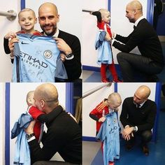 Bradley Lowery meets Pep at City V Sunderland. sadly wee Bradley last his fight against cancer 7th July 2017. Sleep well wee hero. 💙💙