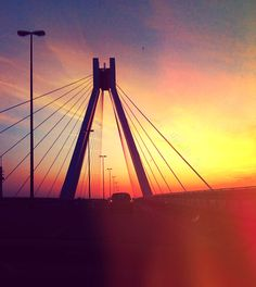 Driving over the bridge.  Ludwigshafen am Rhein in Rheinland-Pfalz #sundown #bridge #Ludwigshafen #Rhineland-Palatinate #Germany