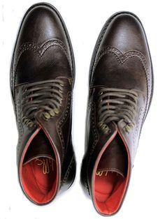 Vegan Vegetarian Non-Leather Mens Dark Brown Brogue Boots